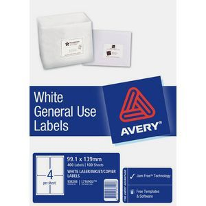avery general use labels white 4 up 100 sheet pinterest