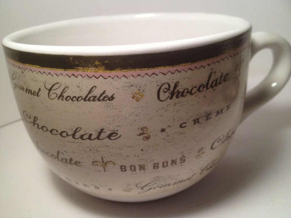 French Chocolate Theme Large Coffee Cup Soup Mug Wide Mouth