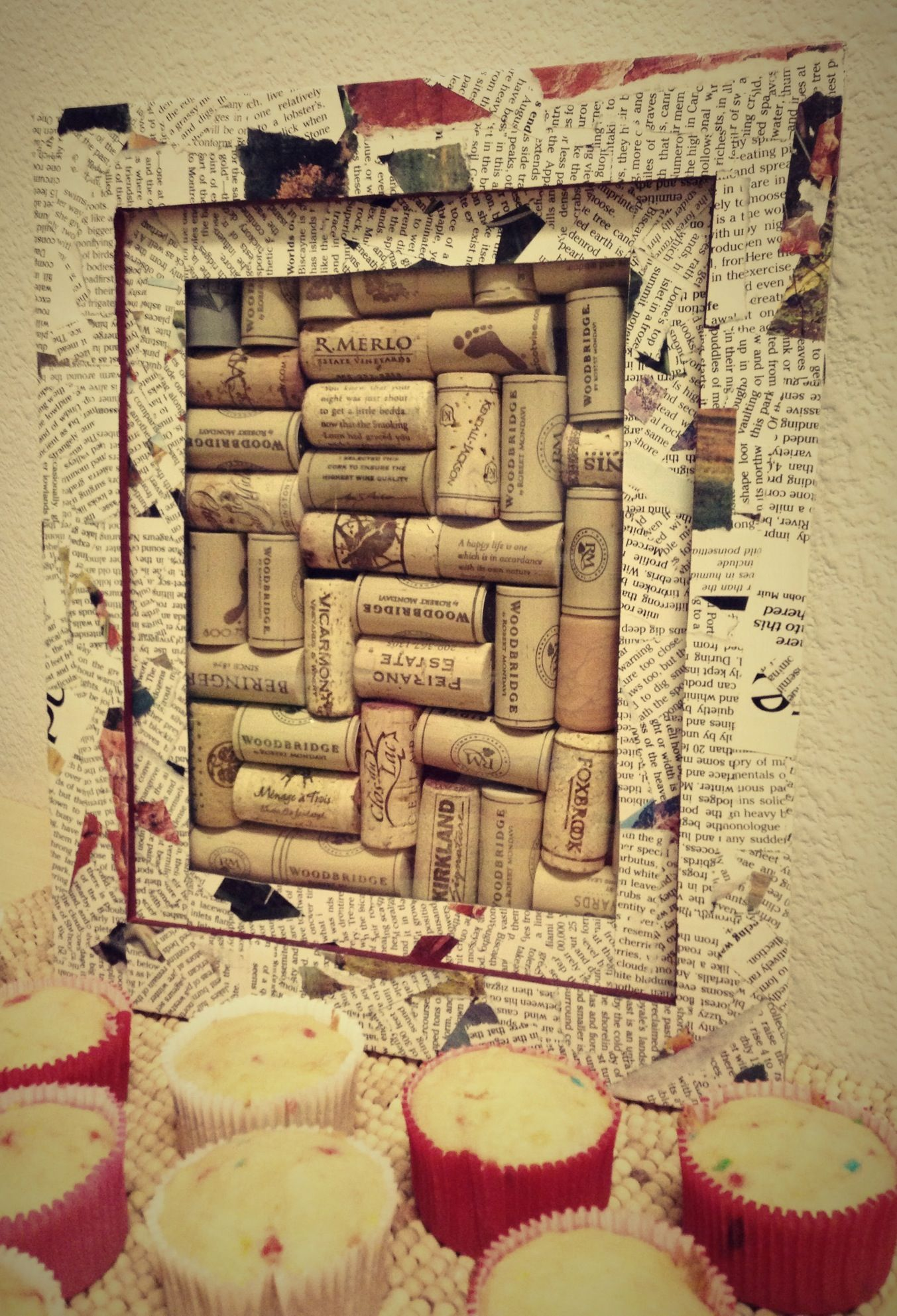Dad\'s wine corks put together, got creative with the picture frame ...