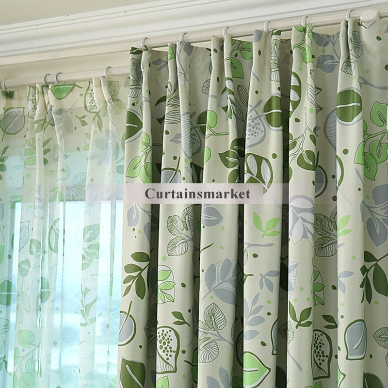 Stunning Green Blackout Curtains With Leaves Patterns