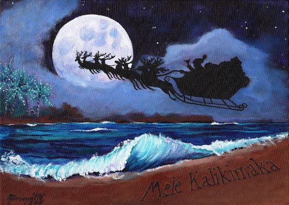Mele Kalikimaka Hawaiian Printable DIY Christmas by kauaiartist Marionette