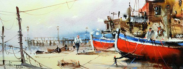 Watercolour-Acuarela-Corneliu-Dragan-Targoviste-peisaj-marin-28