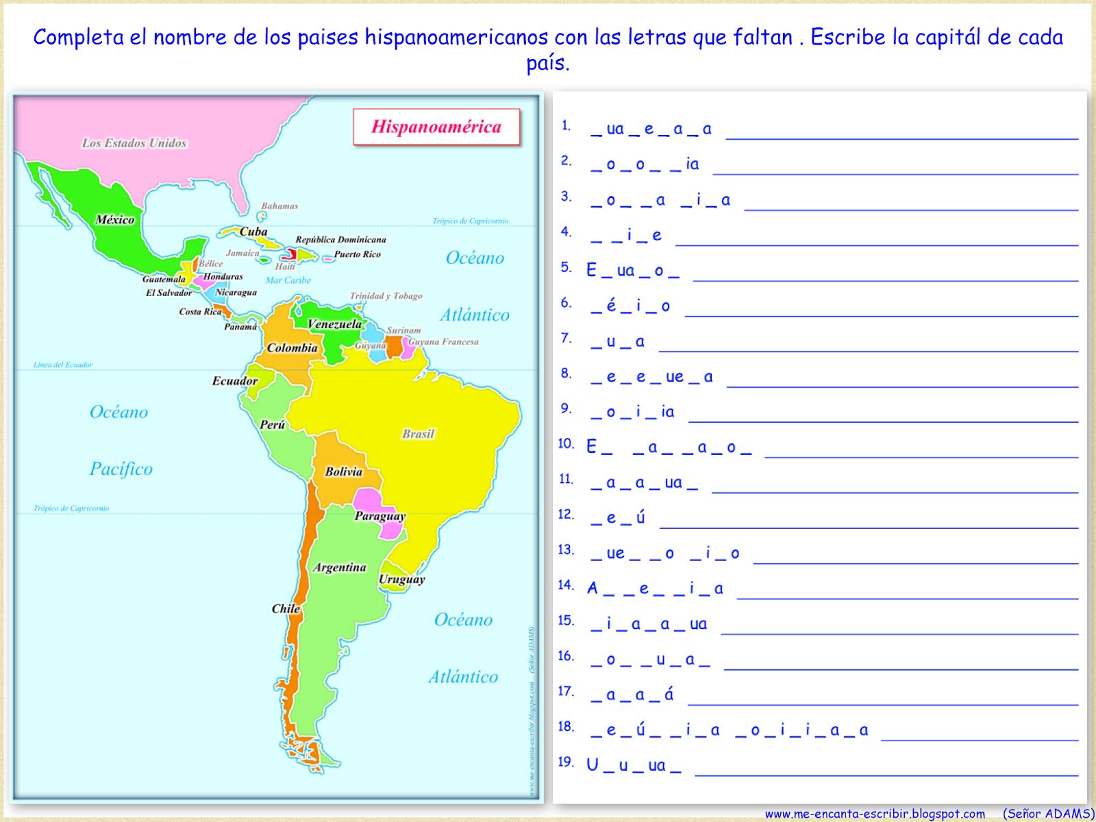 Me Encanta Escribir En Espanol Mapa De Hispanoamerica