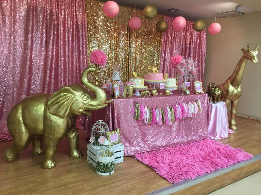 Pink gold safari baby shower party ideas baby shower for Baby birthday decoration ideas