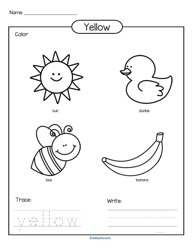 Color yellow printable - color, trace and write. | Teaching ...