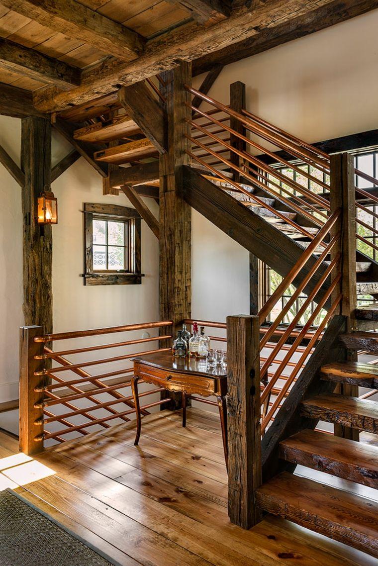 Escaleras Rusticas De Piedra Y Madera Mas De 35 Disenos - Escaleras-rusticas-de-interior