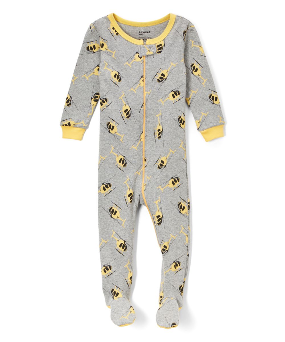 Gray Helicopter Footie Pajamas Infant Toddler Kids Products