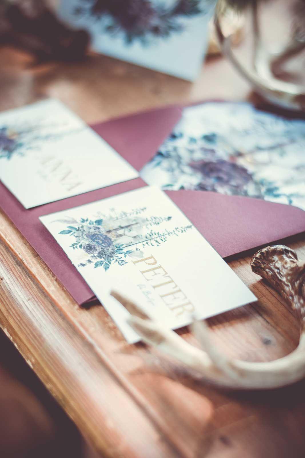Hochzeitskarten Herbst Hochzeitseinladungen Papeterie Burgund Wald