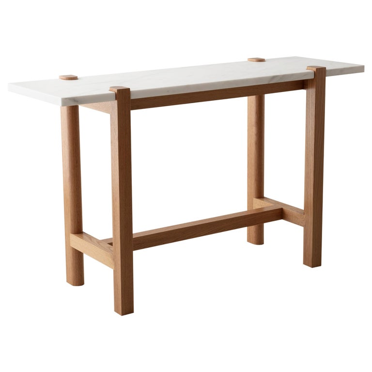 Pierce Console Sofa Table White Oak Hardwood Carrara Marble Top In 2020 Oak Hardwood White Oak Sofa Table