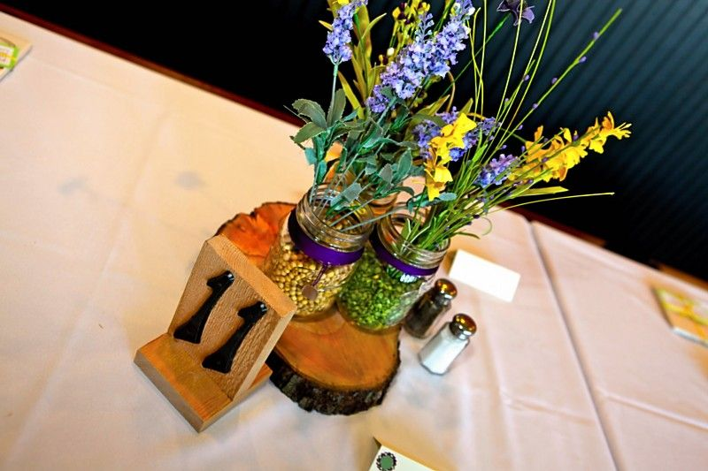 Mason jar centerpieces & table numbers