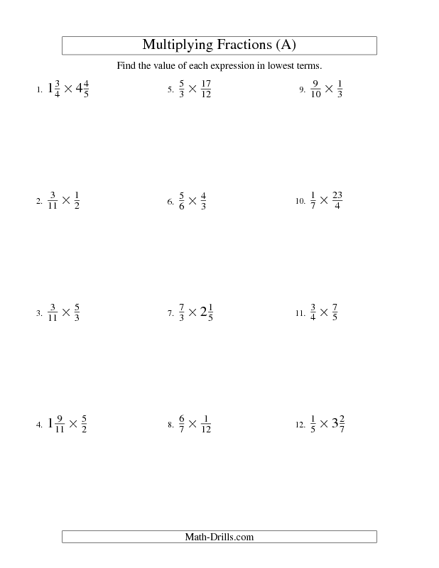 Fractions Worksheet Multiplying And Simplifying Fractions With Some Mixed Fractions A Fractions Worksheets Proper Fractions Simplifying Fractions