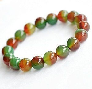 10mm Round Peacock Red Green Beaded Bracelet,7.5""