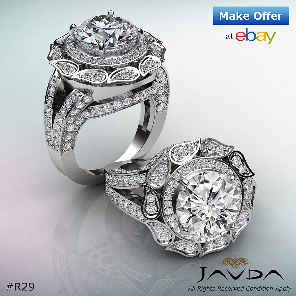 Diamond Engagement Ring 18k White Gold Vintage Round (With