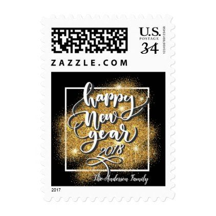 happy new year modern gold glitter fireworks postage glitter glamour brilliance sparkle design idea diy elegant