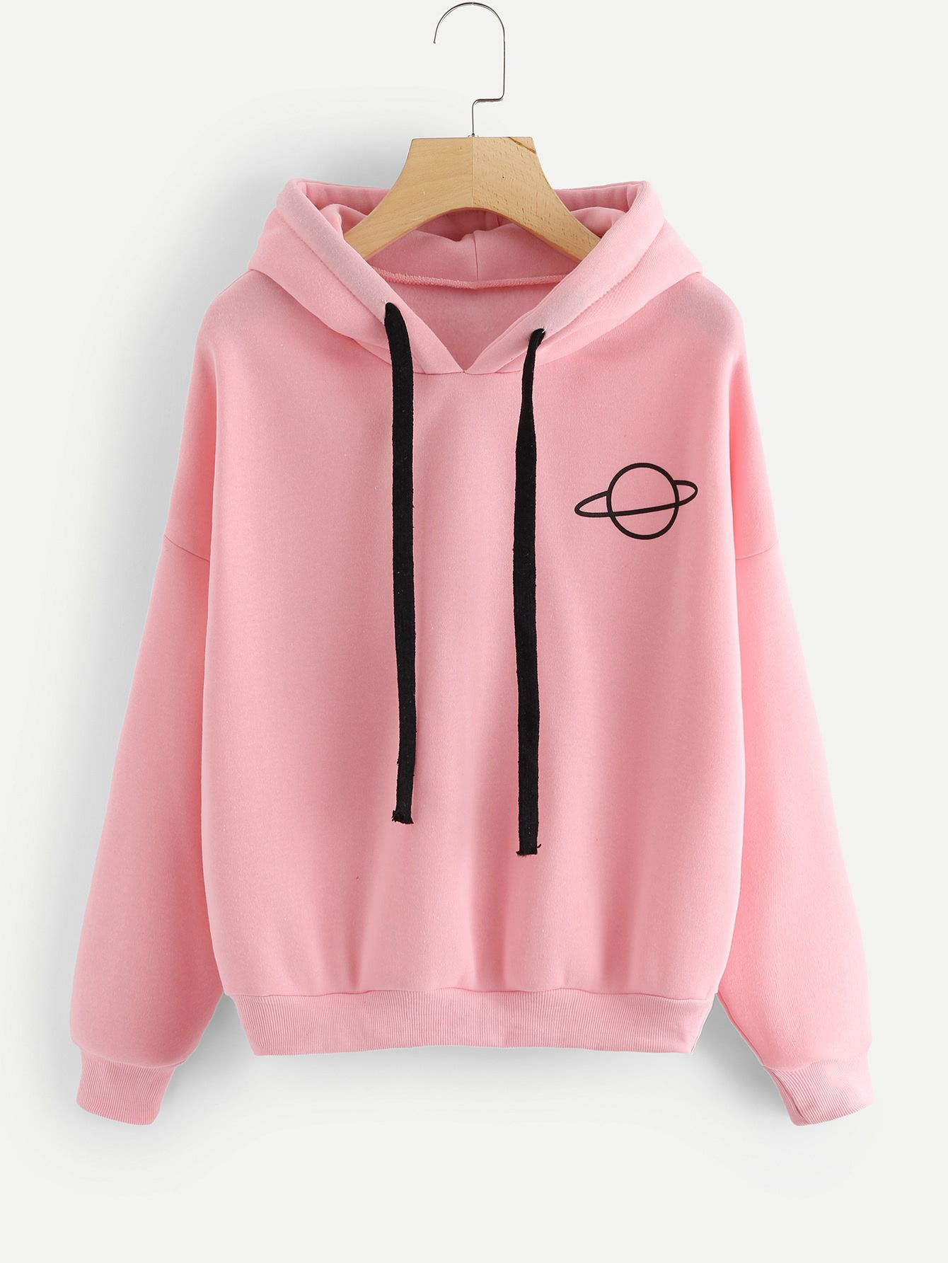 4fe223fcd1 Shop Planet Print Drop Shoulder Hoodie online. SheIn offers Planet Print  Drop Shoulder Hoodie & more to fit your fashionable needs.