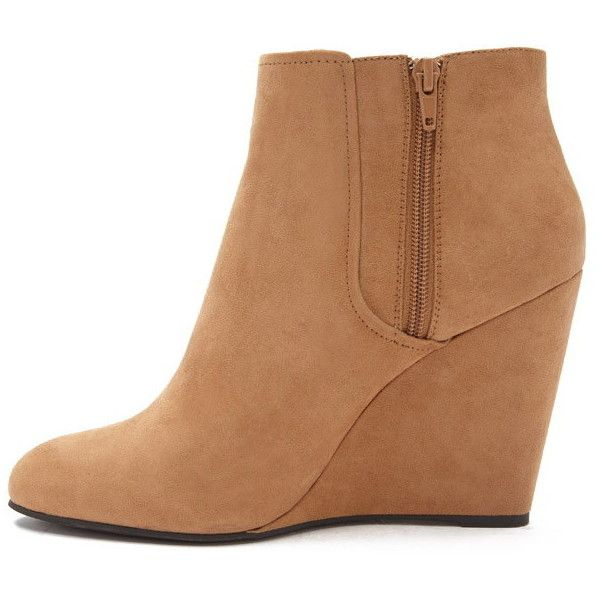 2ec9e8502a4 Forever 21 Women s Faux Suede Wedge Booties ( 28) ❤ liked on Polyvore  featuring shoes