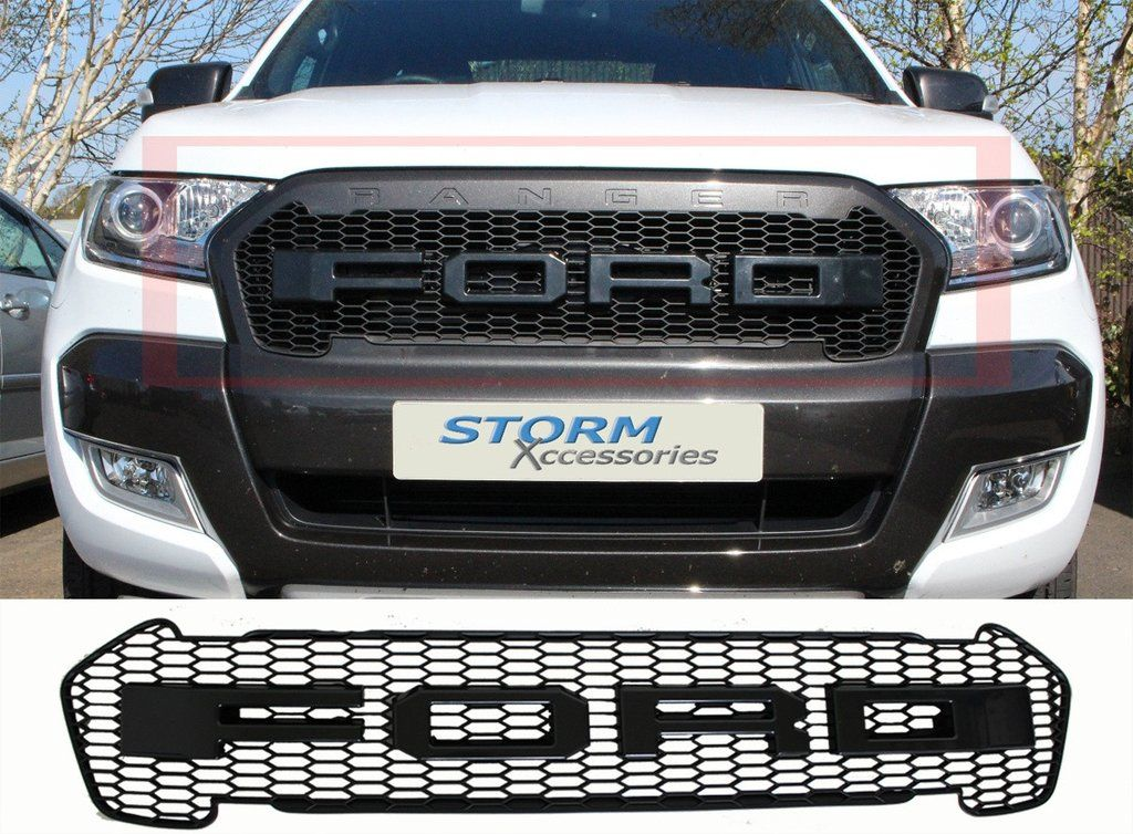 Ford Ranger 2016 Double Cab >> Ford Ranger Grill | Ford Ranger Raptor Grille Replacemet | Matt Black – Pick Up Tops UK | FORD ...