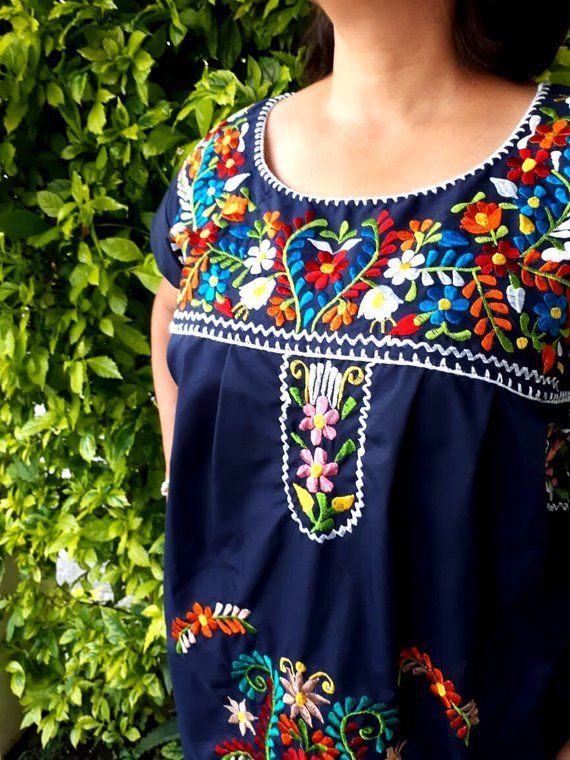 Navy blue mexican embroidery dress, Mexican Embroidered Plus ...