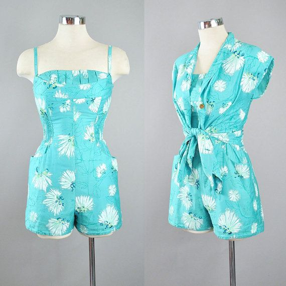 97ca5f3142 Vintage 50s ALFRED SHAHEEN Playsuit 2pc Cover Up Set   1950s Hawaiian Mint  Green Romper Pinup Swimsuit Hawaii Beach Sun Suit Jumper XS Small