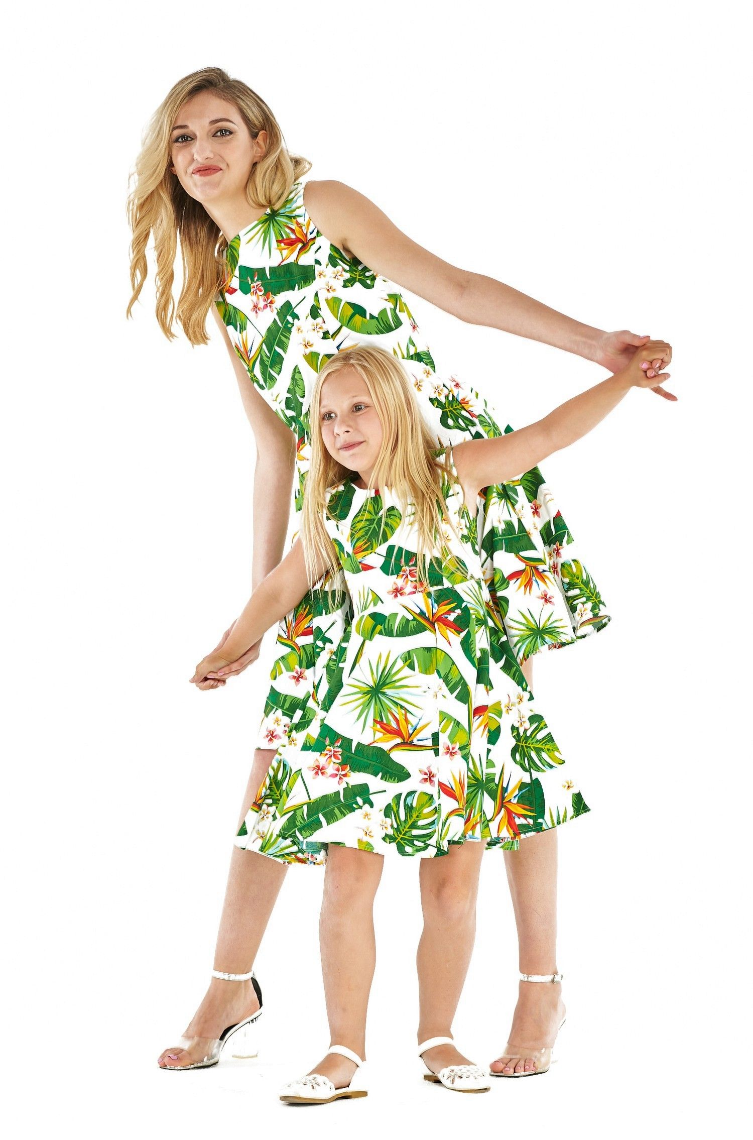 fee2a62eaf57 Matching Mother Daughter Lady and Girl Vintage Fit and Flare Dress in Bird  of Paradise, White