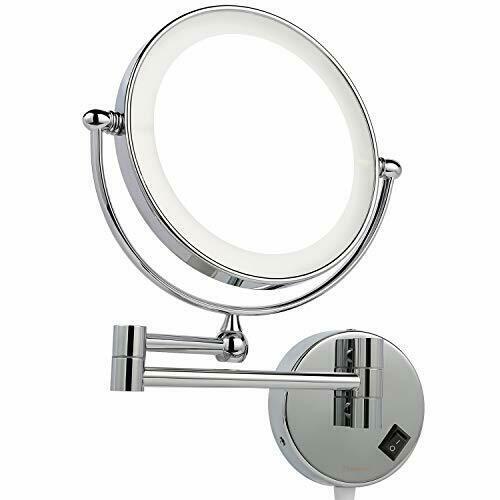 Espejo De Maquillaje Montado En La Pared Con Luz Led Con Aumento