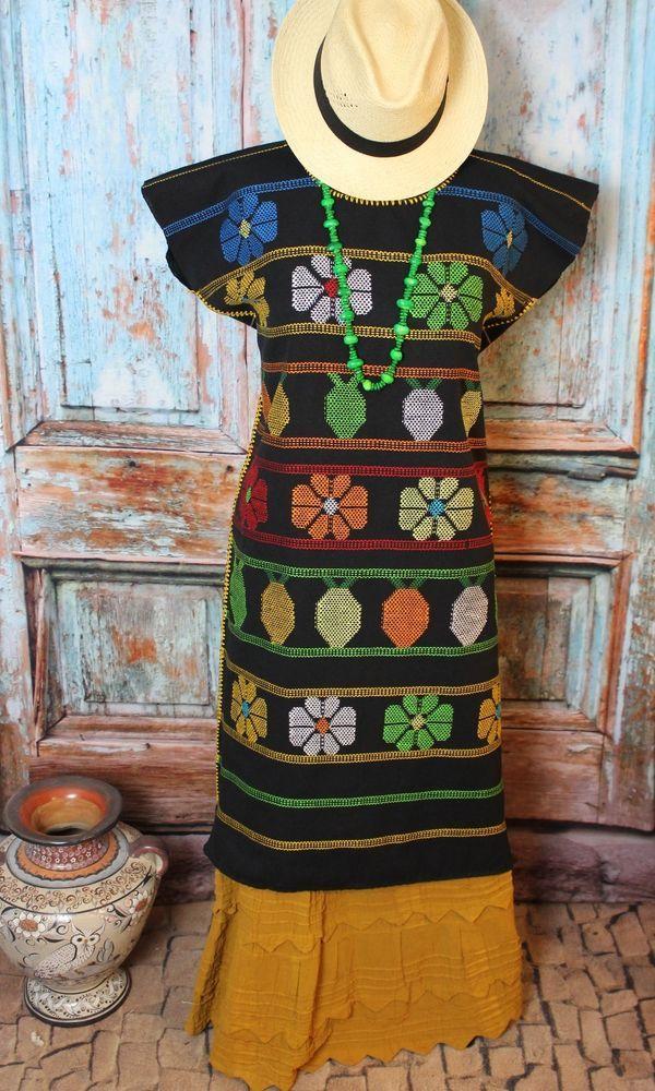 Black 60's Flower Power Huipil Hand Woven Cotzocon Oaxaca