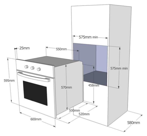 Medidas mueble horno buscar con google kitchen for Medidas estandar isla cocina
