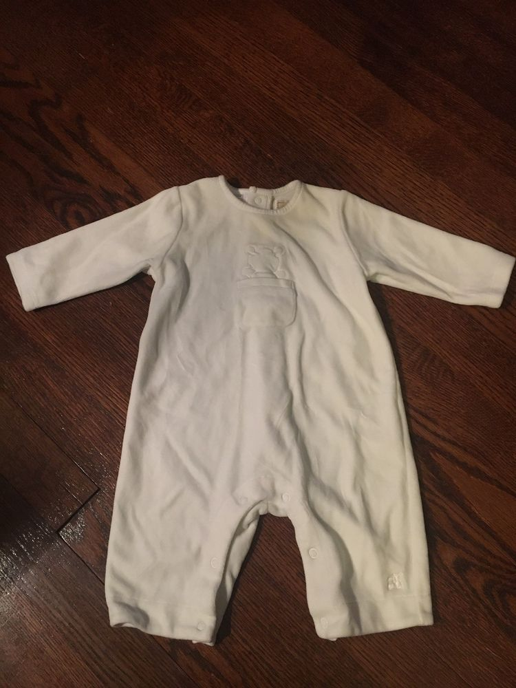 ffd6f2f22 Baby 1 - 3 Month One Piece Romper Pj Pajama White Soft Boy Girl ...