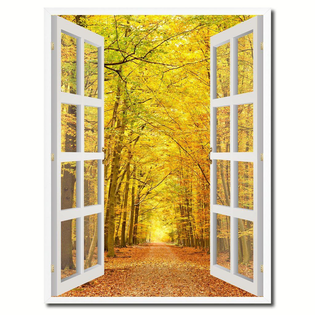 Pathway Autumn Park Yellow Leaves Picture 3D French Window Canvas ...