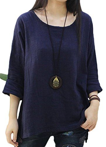 Soojun Womens Casual Loose Long Sleeve Round Collar Cotton Linen Shirt Blouse Tops Navy 1 -- Learn more by visiting the image link.Note:It is affiliate link to Amazon.