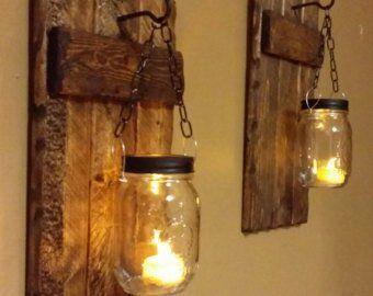"Rustikale Home Decor, Holz Kerzenhalter mit Laterne 12 ""x 5"", Mini Holz Wandleuchte, Rustikale Decor, hängende Laterne Preis gilt für 1 Stück oder 1 Set   – Lisa"