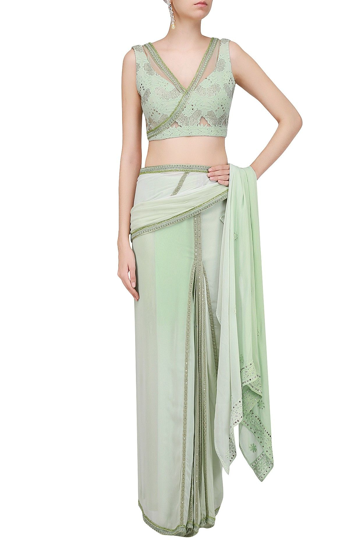 Pastel green mukaish embroidered saree with blouse available only at
