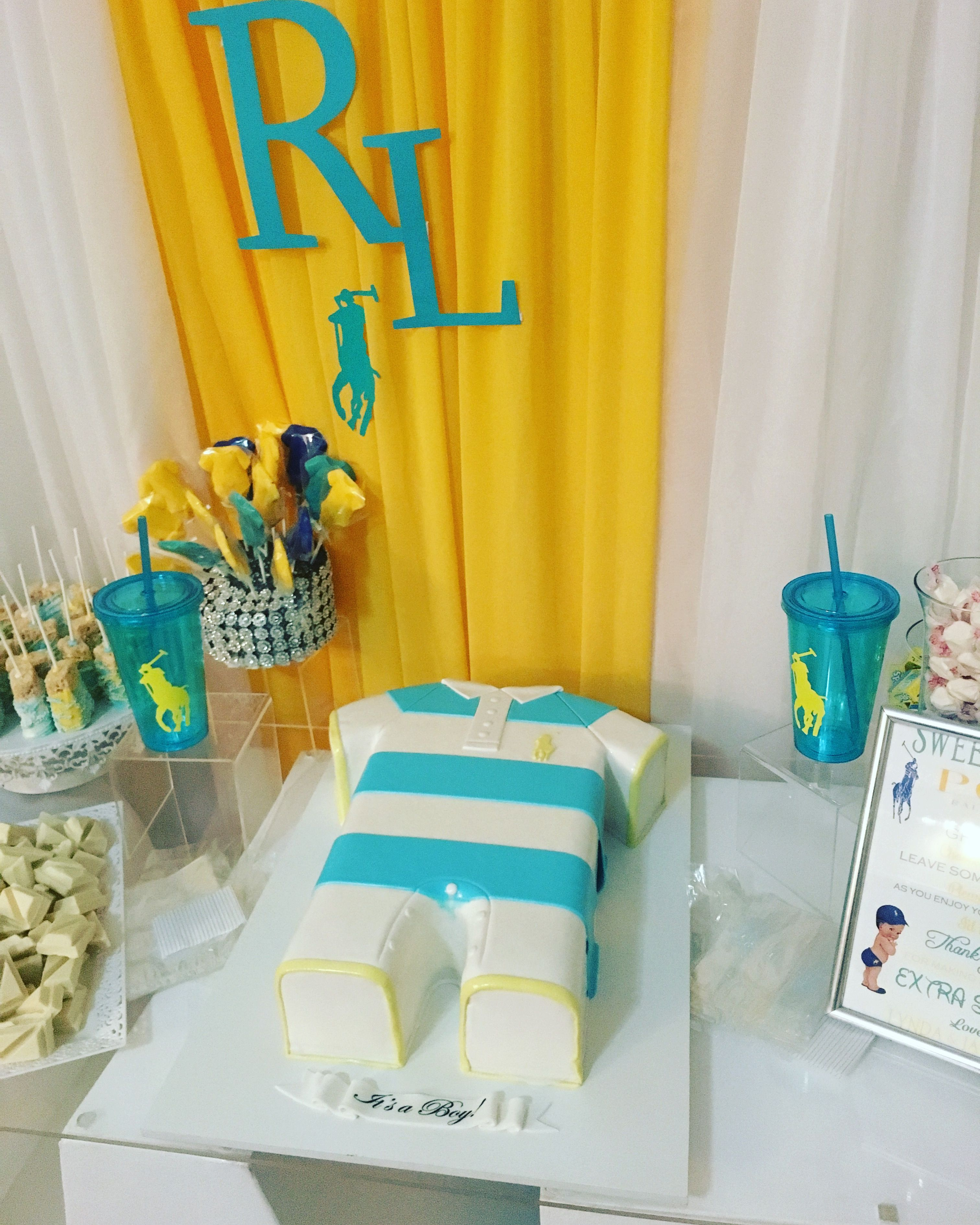 Cake Table With Baby Onesie Polo Cake And Treats Polo Baby