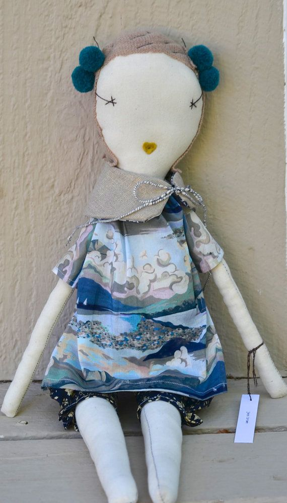 jess brown handmade rag doll with liberty summer beach top and floral shorts on Etsy, $189.00