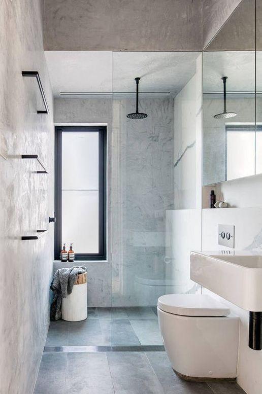 Minimalist Grey Bathroom Badkamer Pinterest Bathroom Modern Inspiration Bathroom Drain Plumbing Minimalist