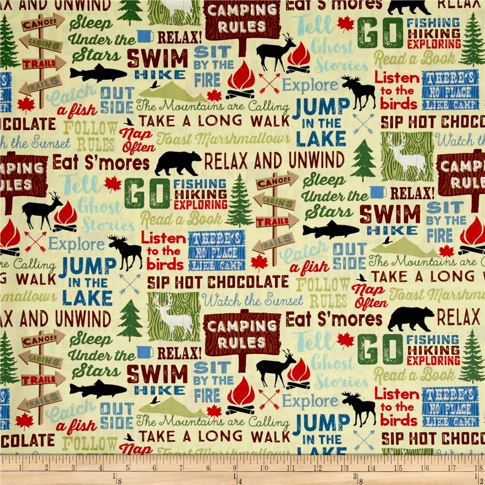 Timeless Treasures Great Outdoors Camping Words Straw From