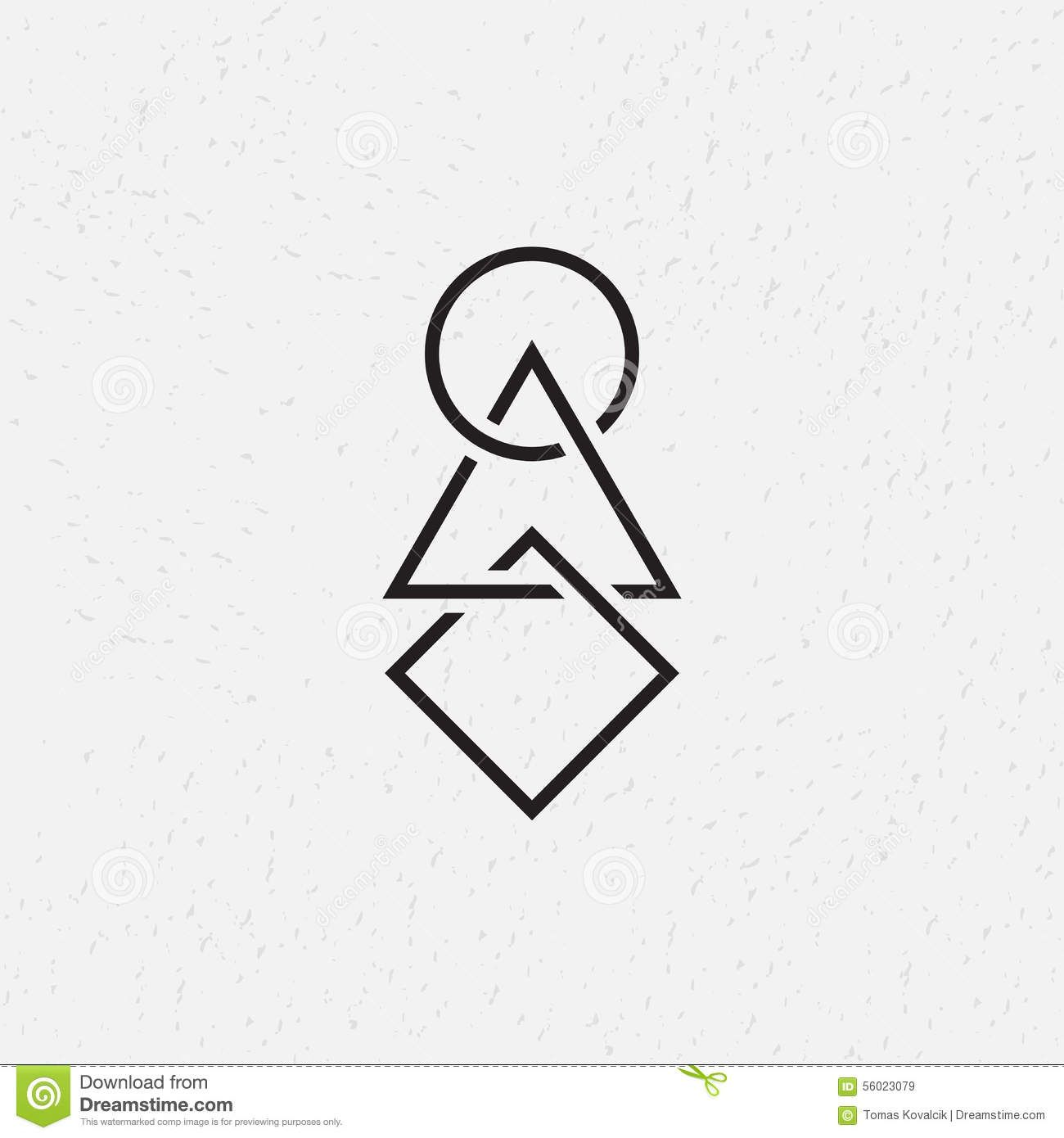 Interlocked Circle Triangle And Square Geometric Symbols Stock