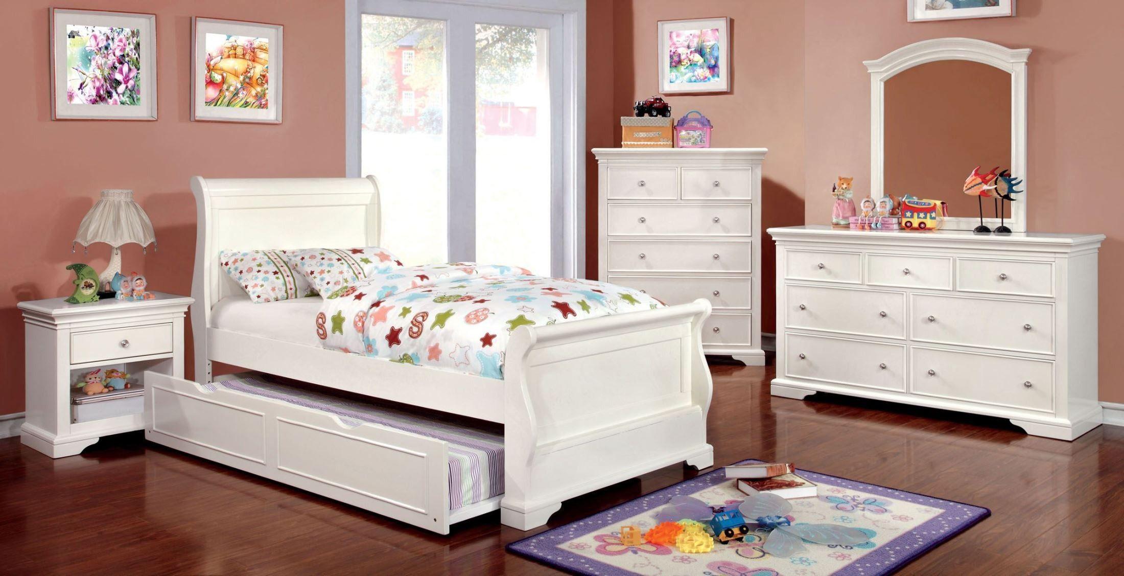 Mullan White Youth Sleigh Bedroom Set White sleigh bed