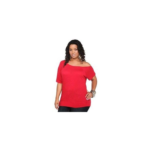 Twist Tees - Red Callie Banded Bottom Tee | Tops ($29) via Polyvore