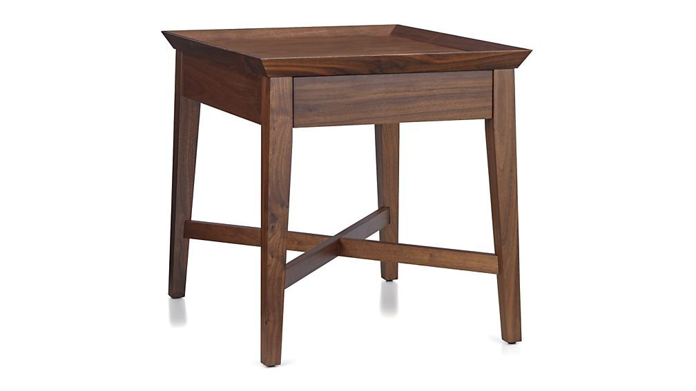 Bradley Walnut Side Table With Drawer Crate And Barrel Drawers - Walnut side table with drawer