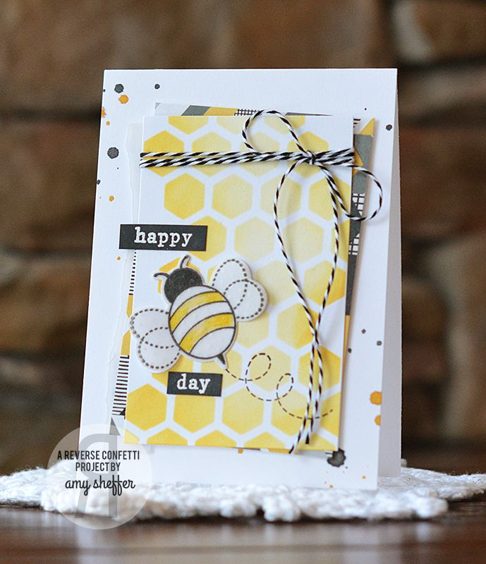 Card by Amy Sheffer. Reverse Confetti stamp set and coordinating Confetti Cuts: The Buzz. Birthday card. Friendship card. Thank you card. Any occasion card. Black and Yellow combination. Bumblebee.