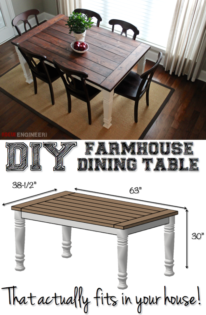 DIY Farmhouse Table | Table plans, Free and Farmhouse table