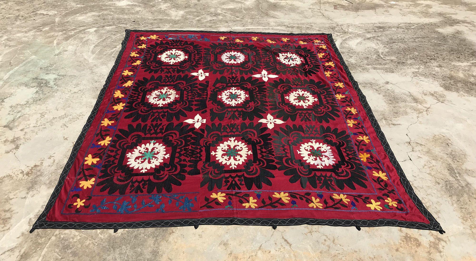7 2x6 8 Vintage Wall Hanging Suzani Blanket Suzani Etsy Suzani Fabric Suzani Traditional Bed