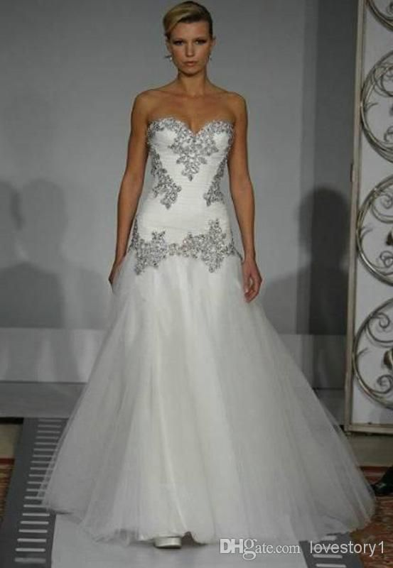 2014 Wedding Dresses Pnina Tornai A-Line Sweetheart Bling Bling with Tulle  Beaded Lace Up at Back Chapel Train Bridal Gowns c435113d0843