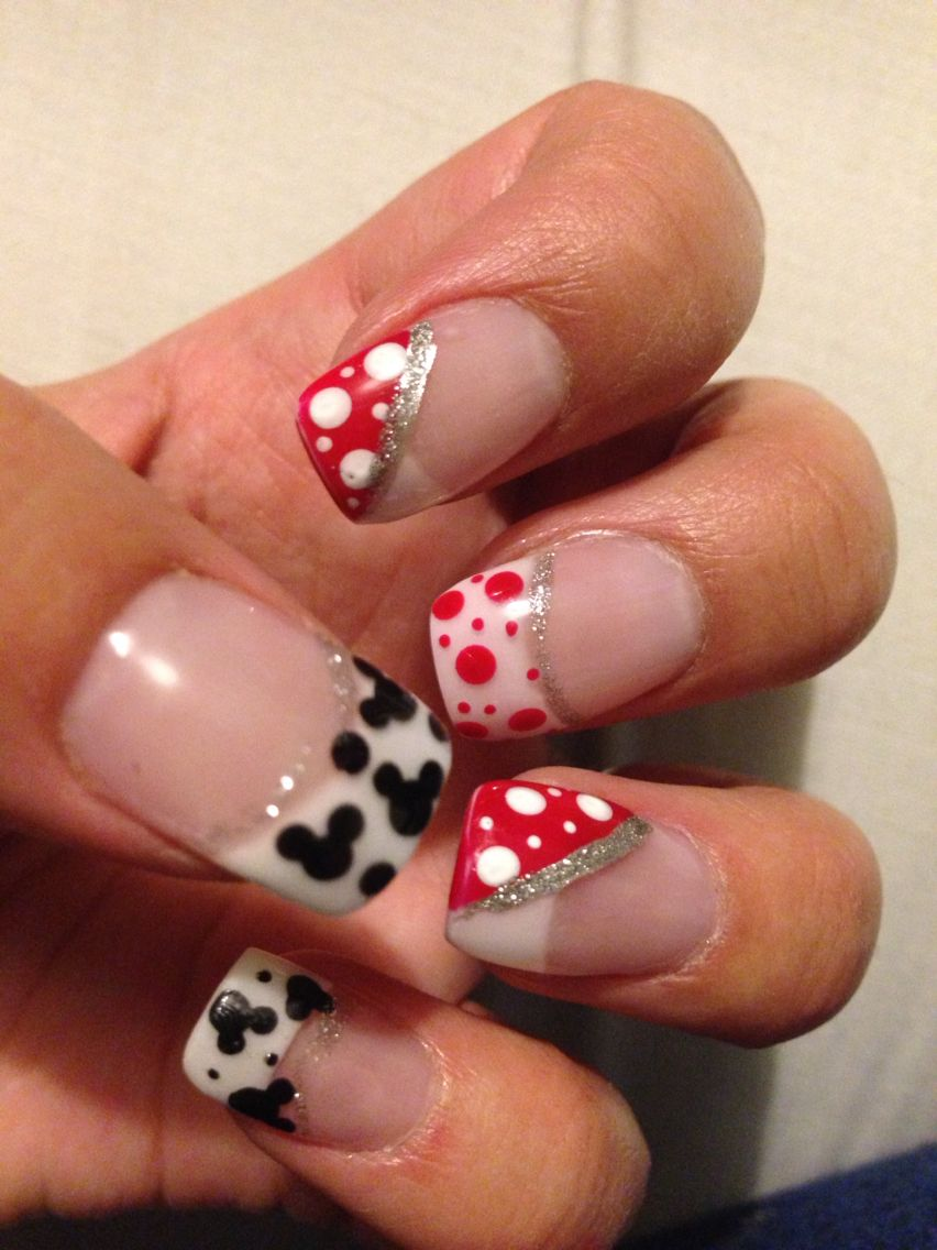 Disney/Mickey Mouse nails acrylics with nail are using Shellac and ...