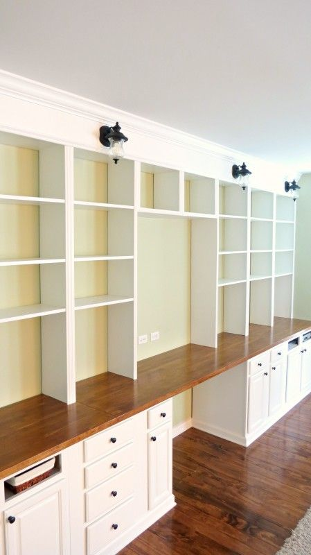 Remodelaholic Build A Wall To Wall Built In Desk And Bookcase Craft Room Office Bookshelves Diy Built In Bookcase