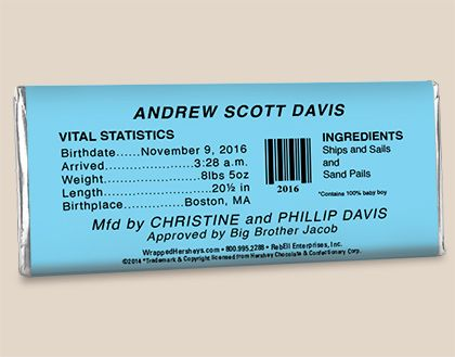 HEREHEIS Birth Announcements Baby Boy HERSHEYS Candy Bars Back – Baby Announcement Candy