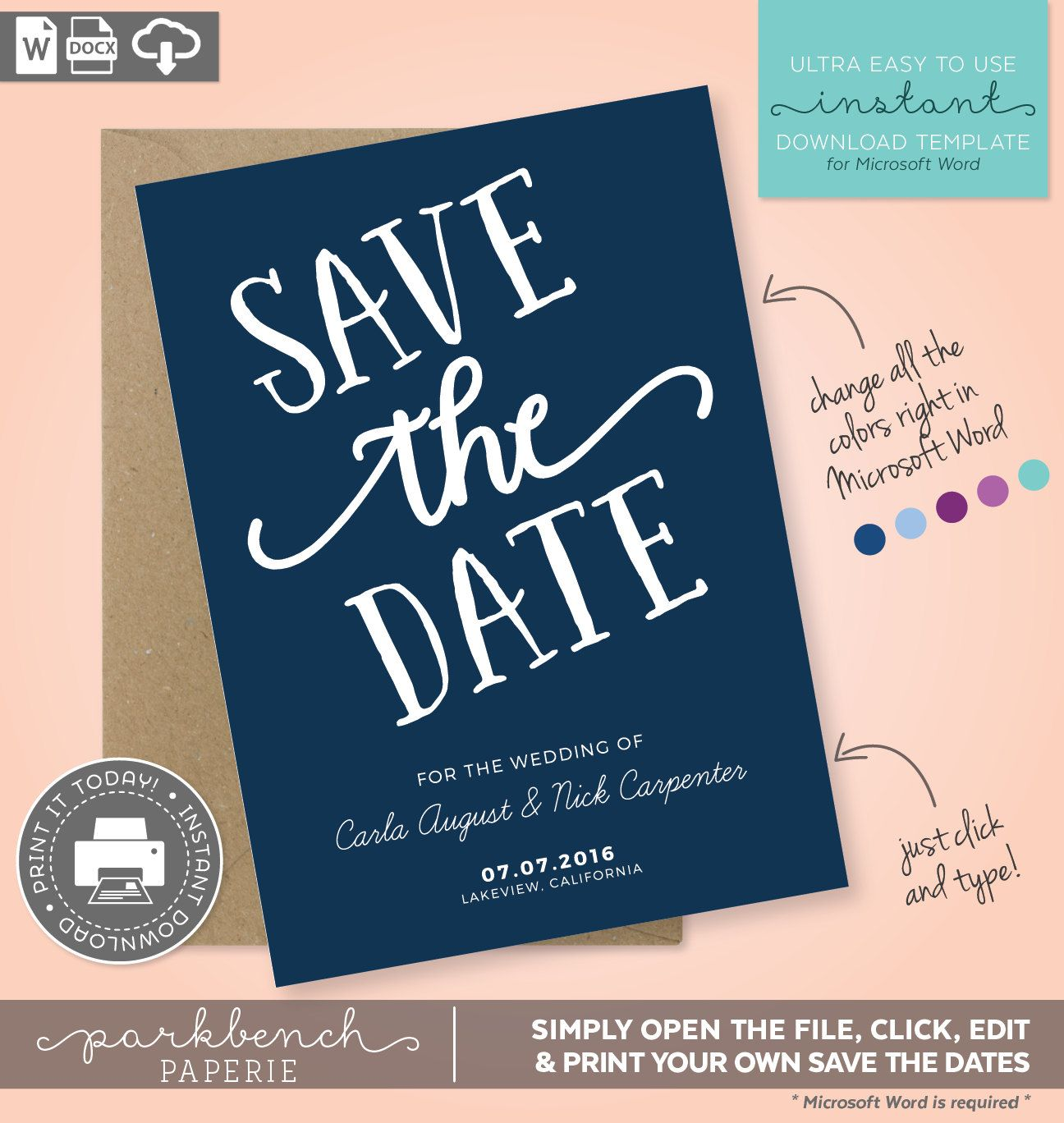 save the date printable template for microsoft word carla style blue navy diy