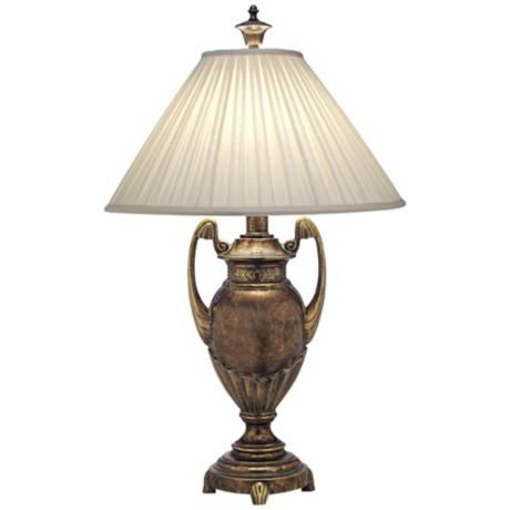 Stiffel Box Pleat Amber Tortoise Shell Urn Table Lamp 6d343 Lamps Plus In 2020 Classic Table Lamp Table Lamp Lamp