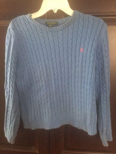 Lauren-Ralph-Lauren-Blue-Cableknit-Crew-Neck-Sweater-Medium